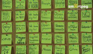 Numerosi post verdi su bacheca che dicono power of idea, open process, passion, love, culture, we have a vision ecc.